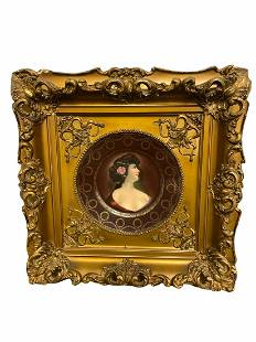 Royal Vienna Porcelain Portrait Plate in Gilt Wood