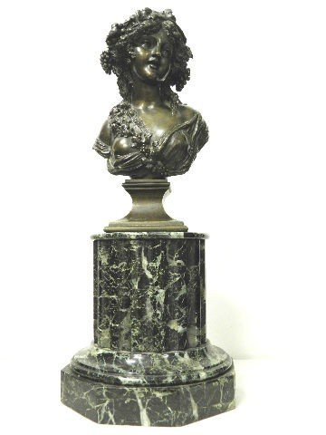 19th Century  Signed Marin Bronze Bust on Marble Base