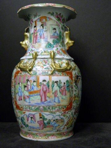 9: Rare Antique Hand Painted Rose Medallion  Vase