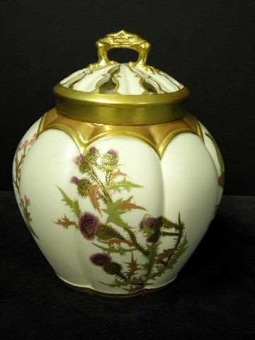 12: Royal Worcester Hand Painted Potpourri Vase