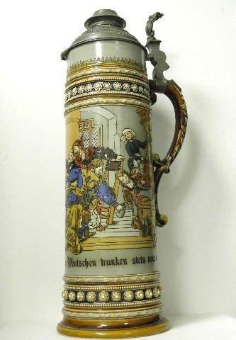 15: Large Mettlach  German Beer Stein No. 1578