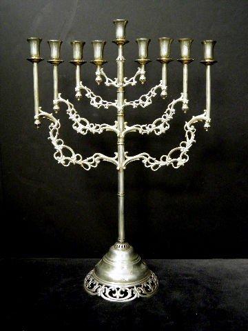 17: Large Ornate Sterling Silver  Menorah
