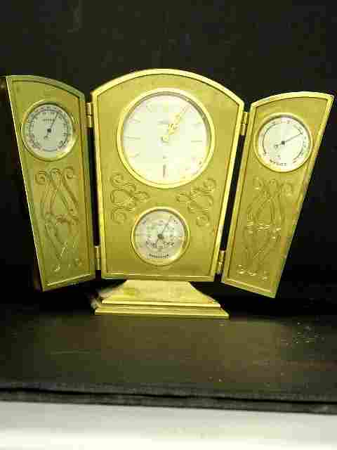 90: Angelus Gilt Metal Desk Clock  /  Weather Station