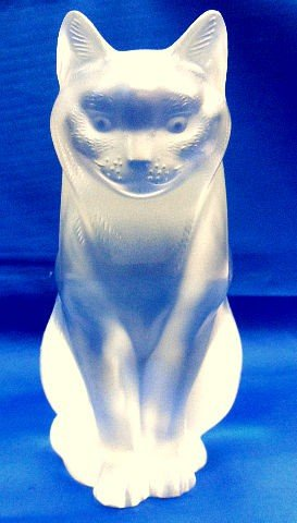 201: Lalique Crystal Figure Cat Sitting