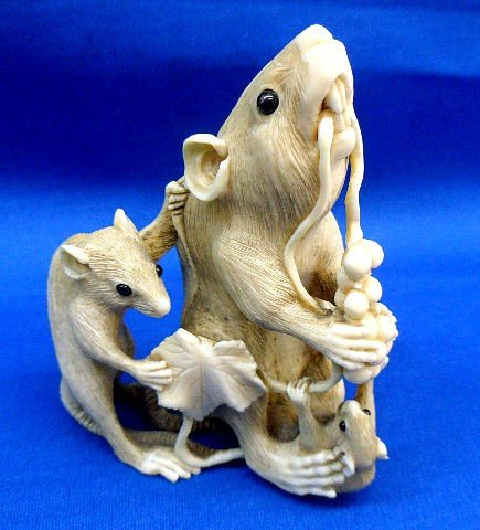 203: Carved Ivory Figural Group of Mice