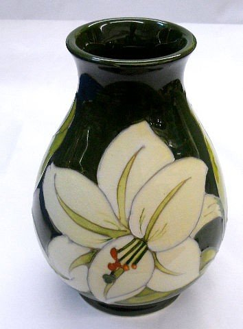 207: Moorcroft Pottery Green Hand Painted Vase