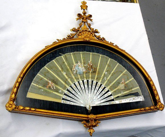 211: Mother Of Pearl Fan In Giltwood Frame