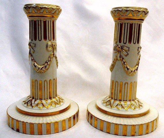 219: Pair Royal Copenhagen Porcelain Candlesticks