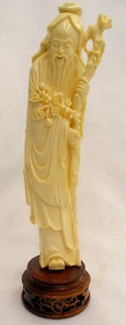 341: Oriental Carved Ivory Figure on Stand