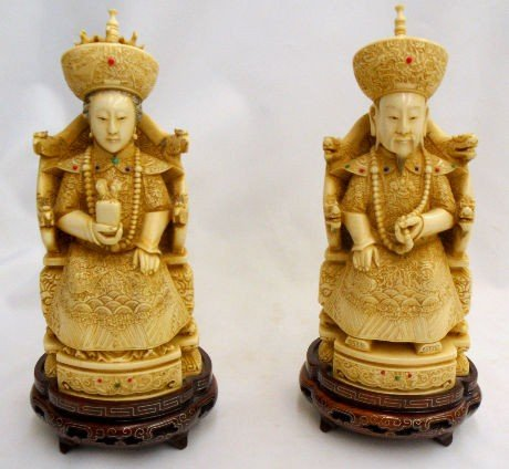 350: Pair Chinese Emperor & Empress Hand Carved Ivory