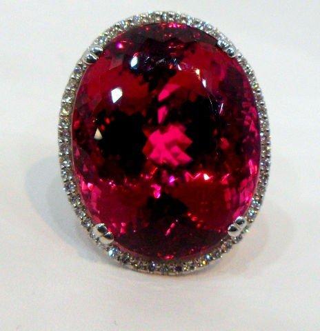 202: Impressive 18K WG 67.68 Pink Tourmaline Ring