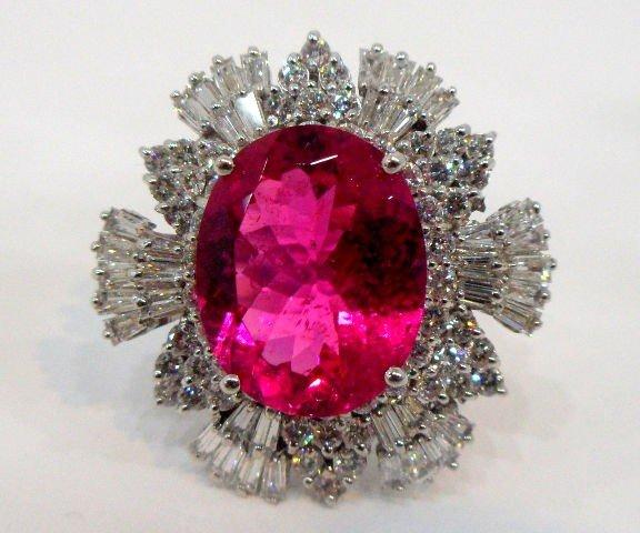 212: Beautiful 14K WG Diamond & Rubillite Ring