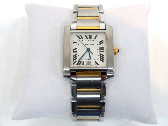 218: Handsome Cartier Tank Stainless/18K Watch