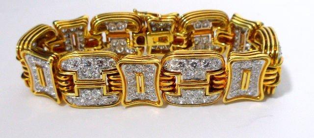 204: 1970's 18K YG  & Plat Diamond Bracelet
