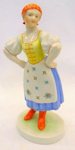 503: Herend Porcelain Peasant Woman Figure