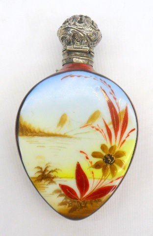 517: Sterling Silver And Porcelain Perfume Flask Bottle