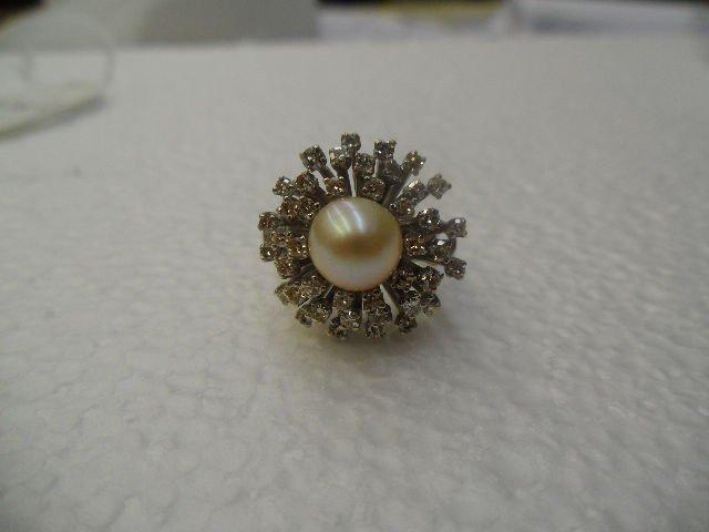 518A: 14k WG Diamond & Pearl Starburst Design Ring