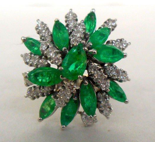 519A: 14k WG Diamond & Pearl Starburst Design Ring.