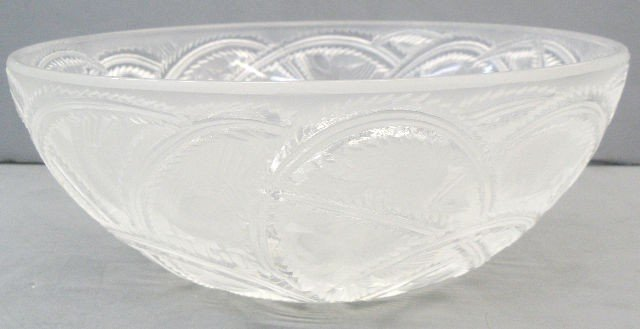 804: Lalique Crystal Pinsons Bowl Signed Lalique France