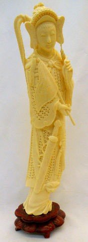 810: Chinese  Carved Ivory Quan Yen Figure on Stand