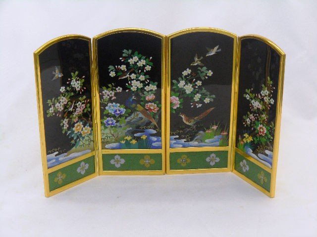 814: Four Panel Japanese Cloisonne Table Screen