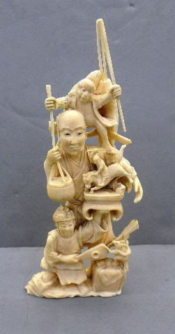 817: Intricately Carved Chinese  Ivory Group