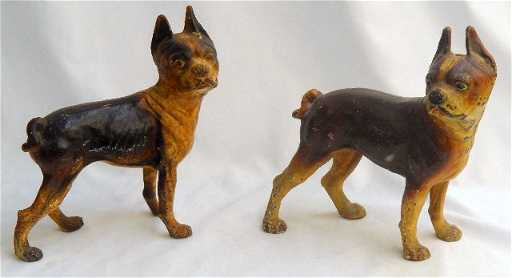 900 Antique Cast Iron Boxer Dog Door Stops