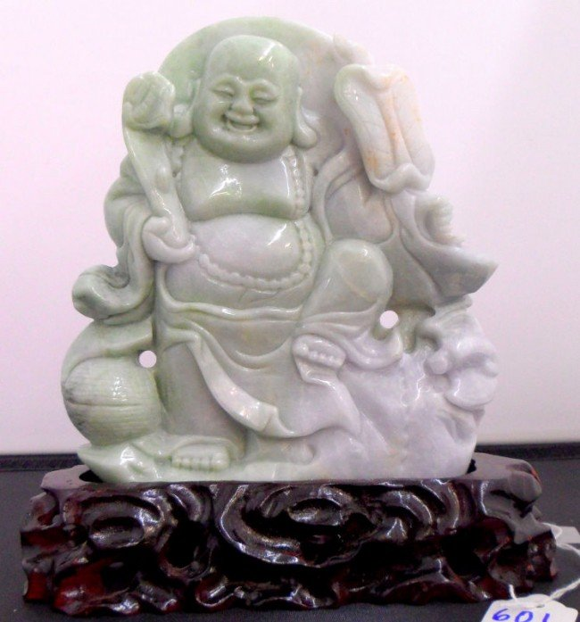 601: Chinese Finely Carved Happy Buddha Figure