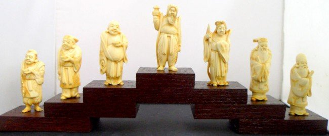 "604: ""Seven Immortals"" Carved Ivory Figures"