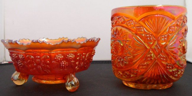 607: 2 Pcs. Marigold Carnival Glass Pieces