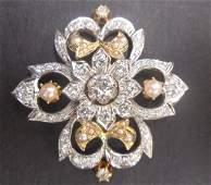 805A: 14K W.G. 2.75Ct Diamond & Pearl Brooch