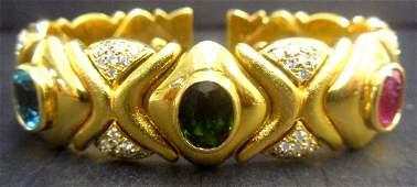 830A: 18K Y.G. Diamond, Topaz & Tourmaline Cuff Bracele