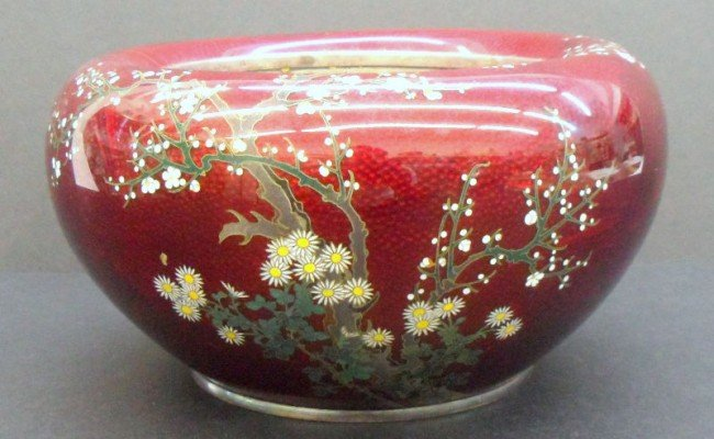 4: Rare Japanese Cloisonne Red Hand Painted Planter