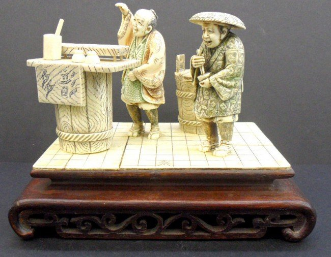 6: Chinese Ivory Carved Group On Wooden Base