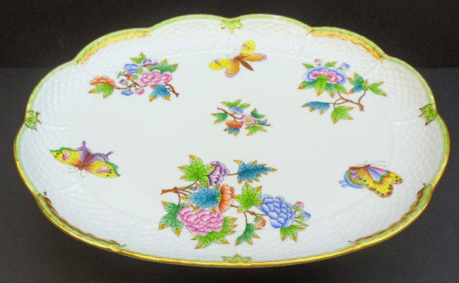 7: Herend Hand-painted Porcelain Footed Tray