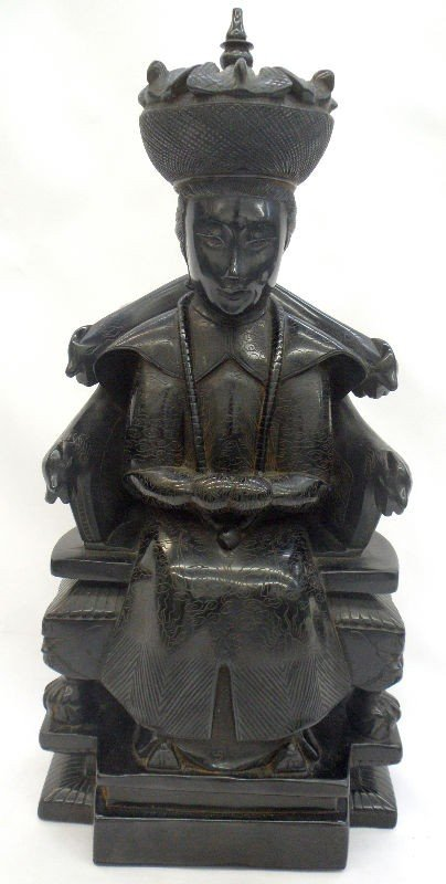 14: Chinese Carved Black Amber Emperor Seated on Throne