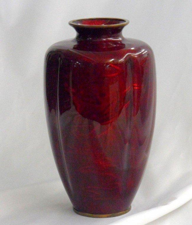15: 19th Century Cloisonne Symphony  Red Enamel Vase