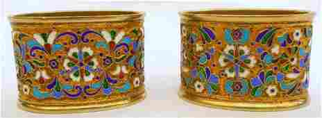 116 Russian Enamel Pair of Oval Napkin Rings