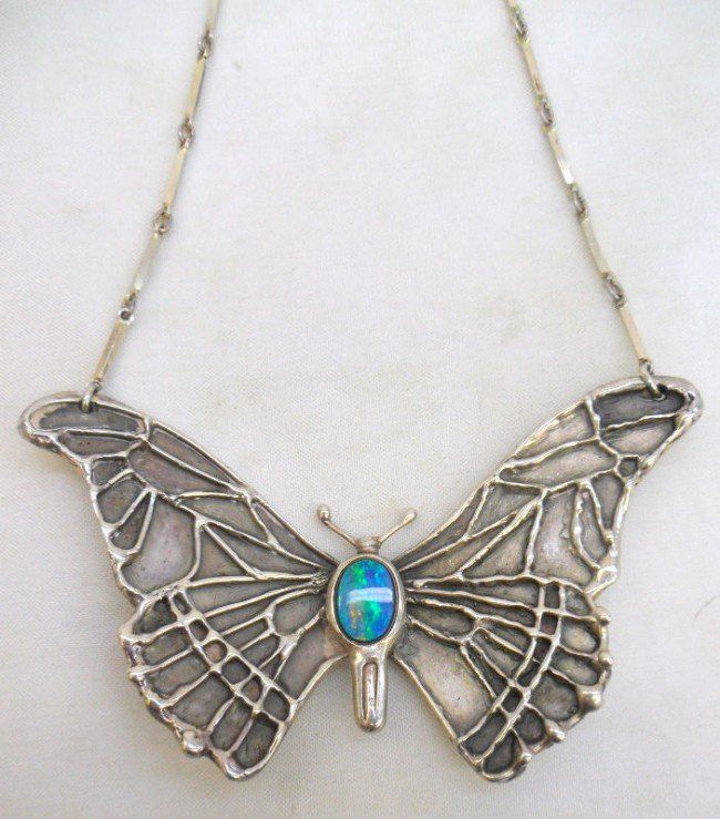 9A: Silver Butterfly Opal Pendant Necklace