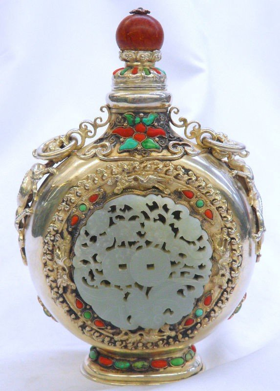 120: Antique Mongolian Jade & Silver Decanter