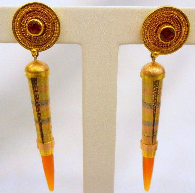 13A: 18-22K Tri-Gold & Carnelian Earrings