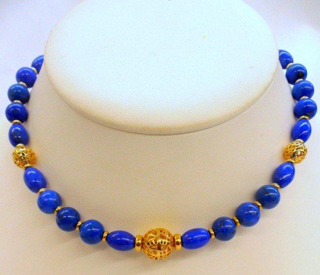 6A: 14K Y.G. Lapis Lazuli Necklace