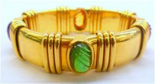 235A: 18K Y.G. Multi-Gemstone Bracelet