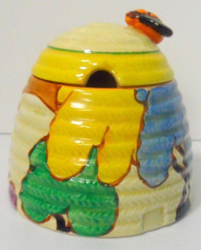 313: Clarice Cliff Beehive Honey Pot