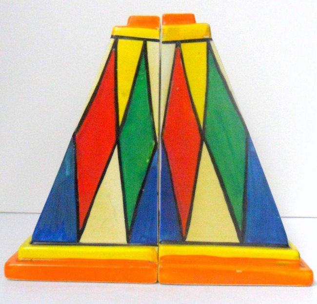 327: Rare Clarice Cliff Bizarre Hand-painted Bookends
