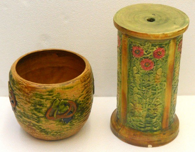 302: Weller Pottery Hand Painted Bowl & Stand