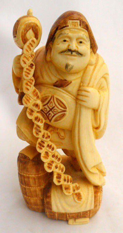 308: Chinese Ivory Polychrome Figure of a Man
