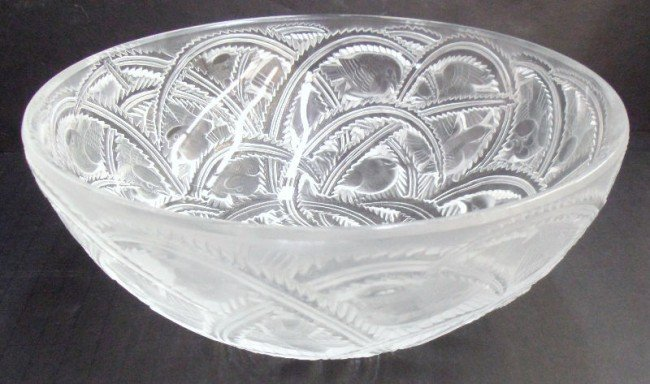"324: Magnificent Lalique Crystal ""Pinsons"" Bowl"