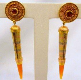 Unique Tri-Color Gold Bullet Design Earrings
