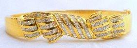 18 Kt. Y.G. 3.50 Ct. Diamond Top Bangle
